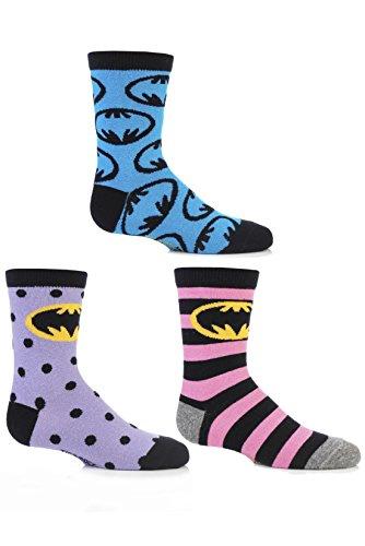 [SockShop Girls' 3 Pair Batman Striped, Spotty and All Over Motif Cotton Socks 13.5-6.5 Assorted] (Batman Dress Socks)