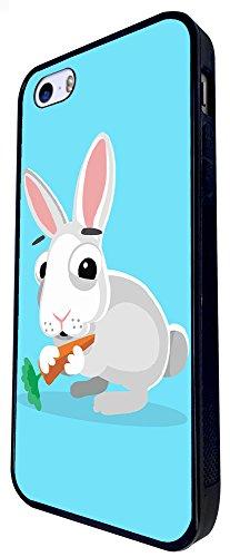 1156 - Cute Fun Rabbit Animal Drawing Blue Design iphone SE - 2016 Coque Fashion Trend Case Coque Protection Cover plastique et métal - Noir