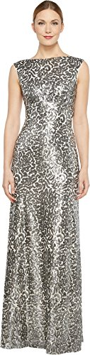 Donna Morgan Women's Boat Neck Empire Waist Sequin Silver ()