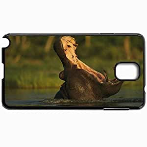 Customized Cellphone Case Back Cover For Samsung Galaxy Note 3, Protective Hardshell Case Personalized Hippopotamus River Fall Cry Grass Black