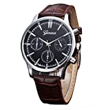 Watches for Men,Clearance Men's Crystal Quartz Watch,Wugeshangmao Fashion Analog Wrist Watch Business Casual Watches Gift,Round Dial Case Faux Leather Strap Band Watches