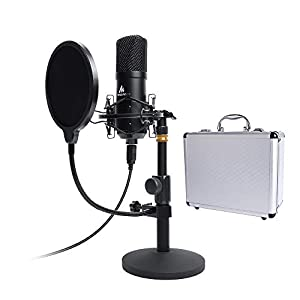 USB Microphone Kit 192KHZ/24BIT with Aluminum Organizer Storage Case MAONO AU-A04T PC Condenser Podcast Streaming Cardioid Mic Plug & Play for Computer, YouTube, Gaming Recording