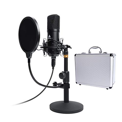 (USB Microphone Kit 192KHZ/24BIT with Aluminum Organizer Storage Case MAONO AU-A04TC PC Condenser Podcast Streaming Cardioid Mic Plug & Play for Computer, YouTube, Gaming Recording)