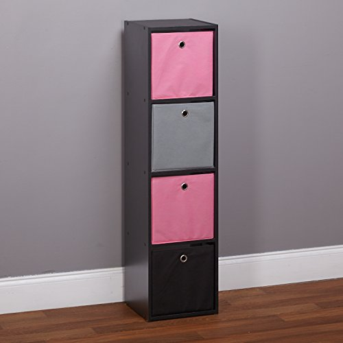 Target Marketing Systems Contemporary Utility 4 Bin Style Shelf Freestanding Tall Bookcase, Pink/Gray/Black - Four Utility Shelves