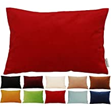 "TangDepot Solid Velvet Throw Pillow Cover/Euro Sham/Cushion Sham, Super Luxury Soft Pillow Cases, Many Color & Size options - (12""x18"", Christmas Red)"