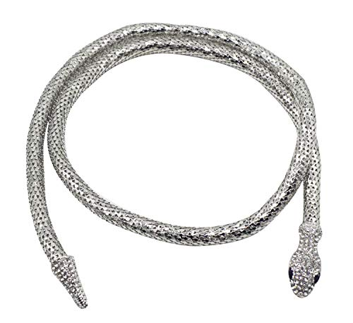 Bellady Women's Flexible Bendable Snake Jewelry Necklace Gothic Magnetic Choker Necklace,Silver-Long