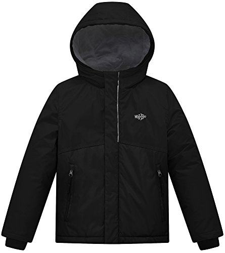 Boys Ski Jacket Coat (Wantdo Boy's Windproof Ski Jacket Fleece Lining Rain Wear Anorak Outdoor Hoodies(Black, 10/12))