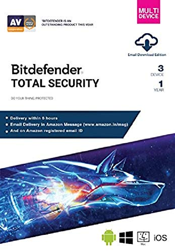 BitDefender Total Security Latest Version with Ransomware Protection  (Windows / Mac / Android / iOS) - 3 User, 1 Year (Email Delivery in 2 hours  - No