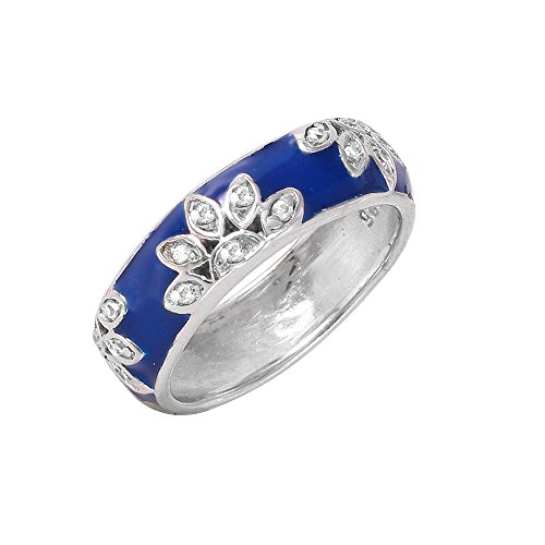 Clear Cubic Zirconia Blue Enamel Flower Band Ring Rhodium Plated Sterling Silver Size 6 Blue Enamel Cubic Zirconia Ring