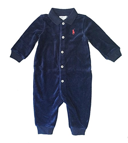 Ralph Lauren Baby Boy Velour Coveralls Spring Navy Overalls 6 Month Cotton Velour Overalls