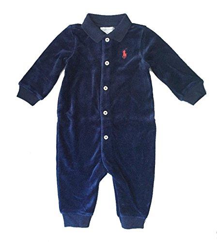 Ralph Lauren Baby Boy Velour Coveralls Spring Navy Overalls 6 Month Infant Baby Boys Velour Coverall