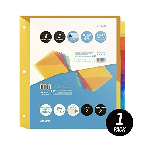 OS Plus 8-Tab Plastic Binder Dividers with 2 Pockets, Insertable Multicolor Big Tabs