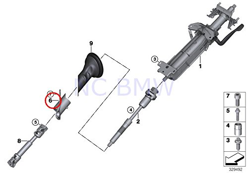 BMW Genuine Center Steering Shaft Mounting - Rack Mounting Steering