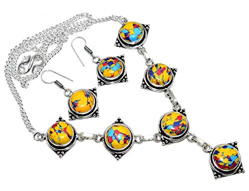 SILVERART Sterling Silver Plated Handmade Mosaic Jasper Necklace Set for Womens and Girls