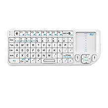 Rii® Bluetooth Mini Keyboard k02 with Touchpad Mouse,Blacklit,Build in Rechargable Li-ion Battery for Smartphone,Linux, Android,Kodi,Windows 7 8(White,US Layout)