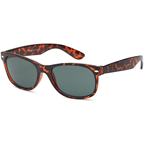 GAMMA RAY UV400 Classic Style Sunglasses - Olive Lens on Tortoise - Classic Mens Style