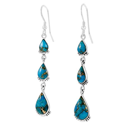 Turquoise Earrings 925 Sterling Silver & Genuine Turquoise (Teal/Matrix Turquoise)
