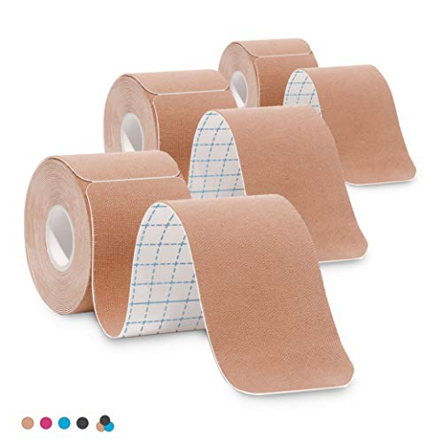 - 3-Pack Kinesiology Tape Pro Athletic Sports. Knee, Ankle, Muscle, Kinetic Sport Dynamic, Physical Therapy. Strong-Rock Breathable h2o Resist Cotton.Roll,pre-Cut 10 in Strip - Beige
