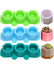 3 Pack Mini Octagon Flower Pot Silicone Molds - Succulent Plant Planter Pot Mold Concrete Cement Plaster Molds, Silicone Ice Shot Glass Molds, DIY Craft Molds for Small Cactus or Seedlings