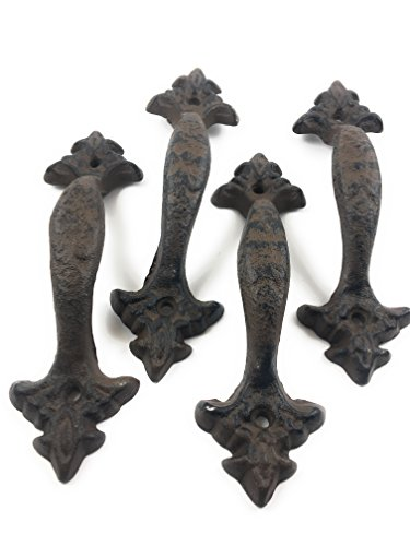 Set of 4 Cast Iron Large & Fancy Antique Replica Drawer Pull / Barn Handle Shabby Chic Vintage Crafts and Decor (Antique Brown /Black) For Sale