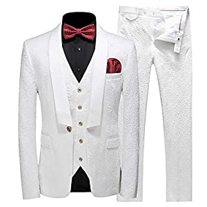 Best Epic Trends 41ODOqyww7L._SS300_ MOGU Mens New Casual Slim Fit Skinny Dress Suits 3 Piece