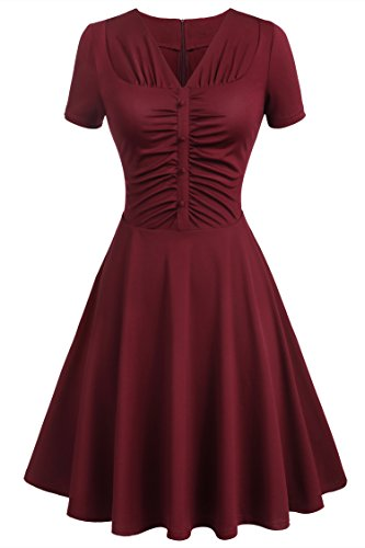 Beyove Women's Retro Deep-V Neck Short Sleeve Vintage Casual Swing Cocktail Dress