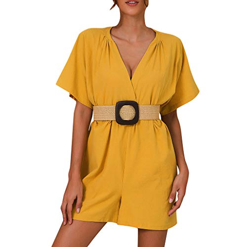 Oufenli✧Women Wide Leg Shorts Ladies Solid Color Overalls Jumpsuit Trousers V Neck Short Sleeve Romper Clothes Oufits (XL, Yellow) ()