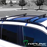 "Topline Autopart Universal 52"" Square Style Aluminum Roof Rack Rail Cross Bars with Adjustable Clamps (Black)"