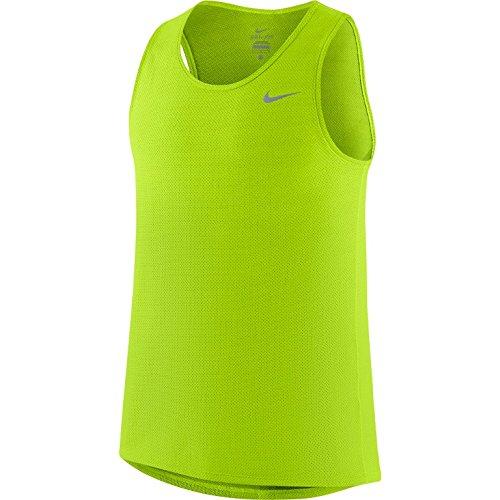 Nike Men's Dri-FIT Contour Singlet Tank Top, Neon Green, - Nike Fit Dri Mapped