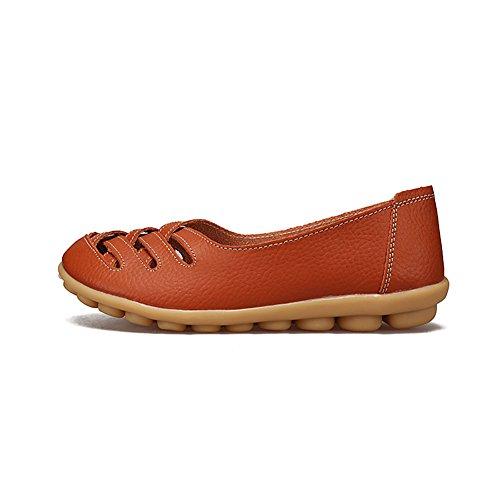 Fereshte Kvinners Cutout Ekte Skinn Loafers Uformell Moccasin Kjøre Sko Innendørs Flat Slip-on Tøfler Orange