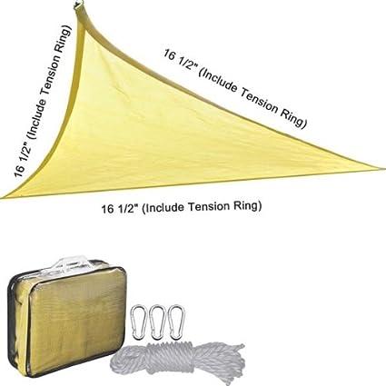 Triangular Shade Sail Desert Sand 16½u0027 Ft Canopy Top Overhead Cover Sun UV  Protection Portable