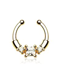 Fake Septum Clicker Clip On Non Piercing Nose Ring Hoop CZ CHOOSE YOUR COLOR