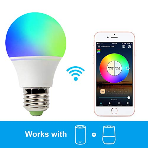 GeekDigg Smart Light Bulb Work with Alexa, RGB 40W WiFi Bulb Assistant Compatible with Amazon Echo and Google Home. Multicolor, Dimmable, No Hub Required (1-Pack-4.5W)