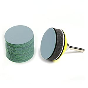 2 Inch 3000 Grit Aluminum Oxide Wet Dry Hook And Loop Sanding Discs With A 6mm Shank Backing Pad Soft Sponge Buffering For DIY Woodworking 30 Pack