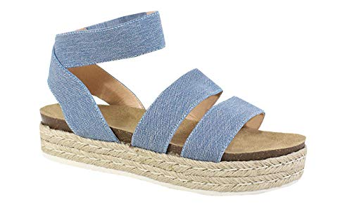 Nature Breze Kacie 02 Women's Casual Summer/Spring Open Toe Espadrille Wedge Sandals, Denim 8 Denim Open Toe Sandals
