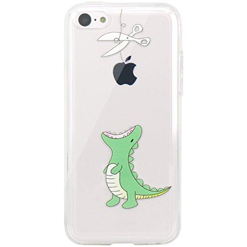 JIAXIUFEN Neue Modelle TPU Silikon Schutz Handy Hülle Case Tasche Etui Bumper für Apple iPhone 5c- Amüsant Wunderlich Design Hungrigen Krokodil