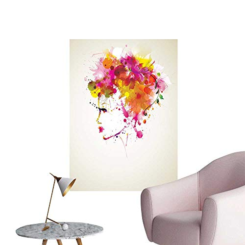 Abstract Art Decor 3D Wall Mural Wallpaper Stickers Watercolor Portrait of a Woman with Artsy Floral Hairstyle Paint Splatters Art Mural Decals Orange Pink Green W24 x H36]()