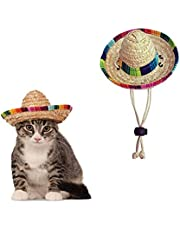 AWOCAN Pet Straw Hat Funny Mexican Sombrero Cap Party Decorations for Birthday for Small Pets, Puppy, Cat