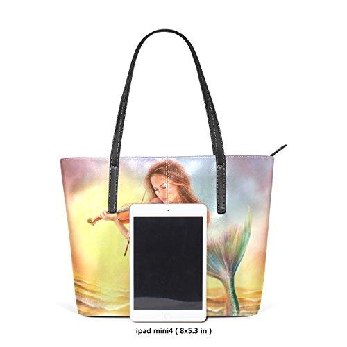 Coosun schöne Fantasy Mermaid spielt auf Violine Sunse PU Leder Schultertasche Handtasche und Handtaschen Tasche für Frauen