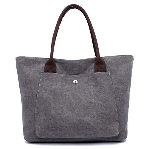 Per Grey Tote A Borsa Tracolla color Manici Con Grey Borse Vintage Lieyliso Cerniera qSfBTnCwx