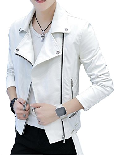 Faux Slim Leather Zipper Fit Trucker Jacket White Generic Solid Up Color Mens Lapel zgq8Rx5wZa