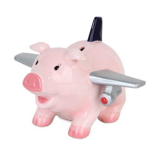 Airplane Bank (PTC Ceramic Airplane Pig Savings Piggy/Coin/Money Bank, 6.5
