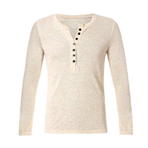 Kaki Pure Shirt Blouse À Homme Couleur Manches Des Boutonné D'automne Longues Fantaisiez Boutons Pour Henry De Sweatshirt Tee Col Svec ZqH5Ezwpnx