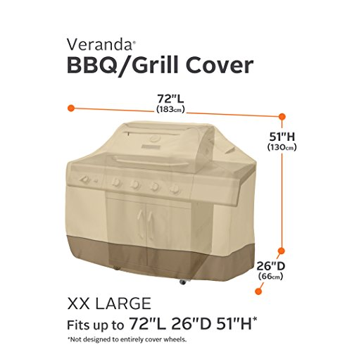 Classic Accessories Veranda Grill Cover - Durable BBQ Cover with Heavy-Duty Weather Resistant Fabric, XX-Large, 72-Inch
