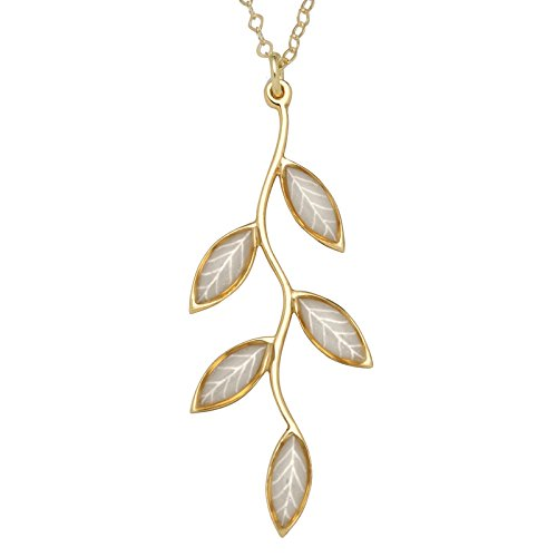 (Gold Plated Silver Olive Leaf Necklace Handmade Pearly-White Polymer Clay Pendant, 16.5