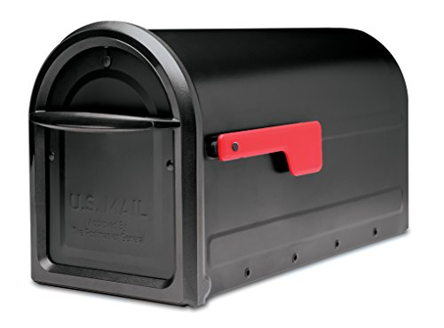 Architectural Mailboxes 7900-2B-R Mapleton Post Mount Black with Red Flag Mailbox, Medium