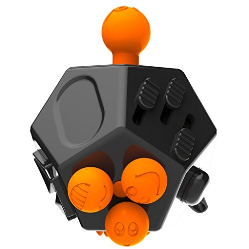 2 Pcs Fidget Dice II and Dice I 12 Sides Fidget Cube and Fidget cube - Stress Anxiety and Boredom Relief Weeambo Anti-anxiety and Depression Toys for Children and Adults (Black / black) - 5
