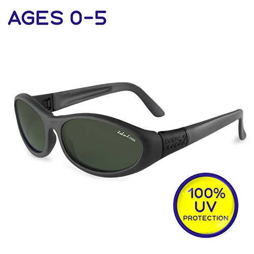 """Idol Eyes Kids Sunglasses for Kids - """"Baby Wrapz 2"""" 100% UV Protection Baby Sunglasses with Strap and Temples + Extra Baby Sunglasses Strap for Ages 0-5 (Black)"""