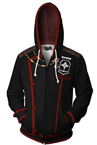 PartyCos 3D Printed Allen Walker Anime Hoodie for Men Halloween Costume Zip Up Jacket Coat Black]()