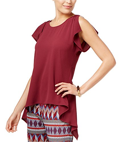 (Cable & Gauge Womens Drape & Slit Pullover Blouse Red L)